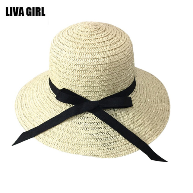 7a0cc2bdc9b Summer Casual Women Sunscreen Sun Hats Folding Travel Holiday Beach Lady  Big Brim Grass Hat Caps Ribbon Decoration 2017 Hot Sale