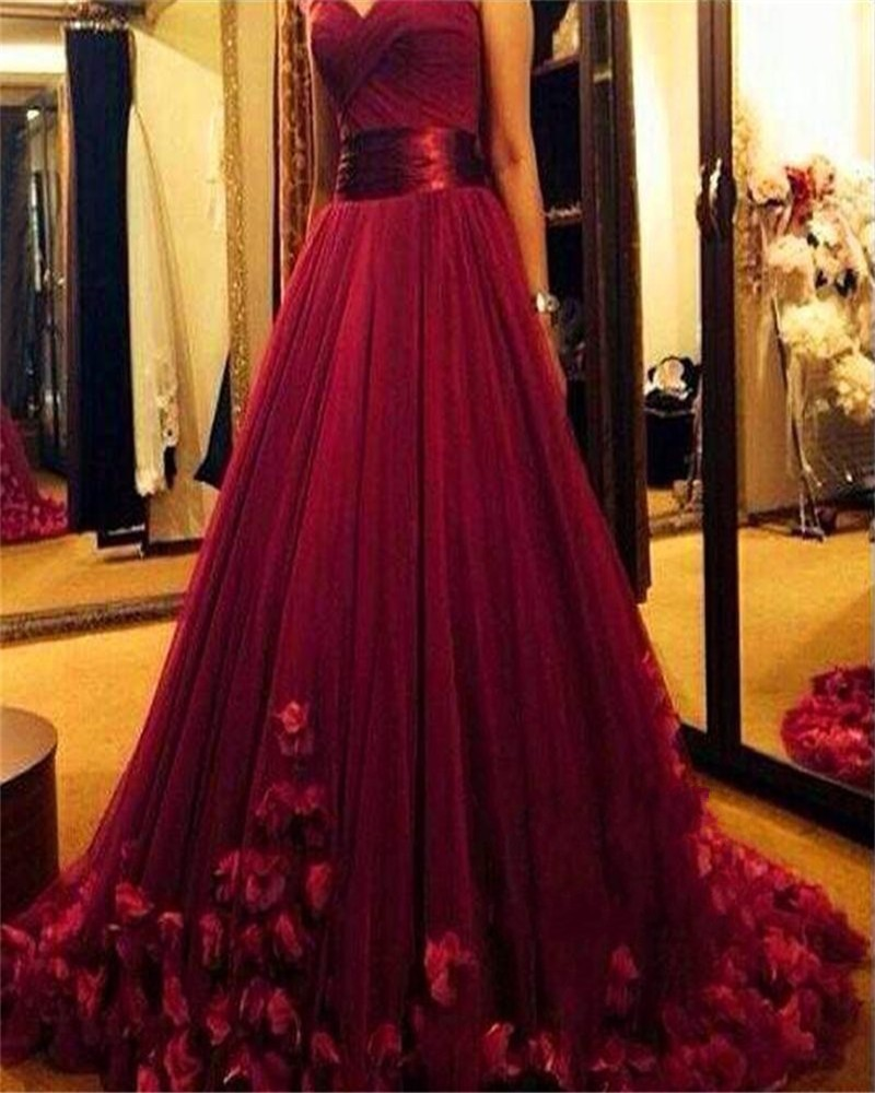 Sweetheart Handmade Flowers Wine Red Evening Dresses Tulle Luxurious ...
