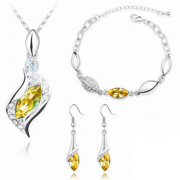 SHUANGR Top Quality Elegant luxury design new fashion Gold color colorful Austrian crystal drop jewelry sets women gift 3