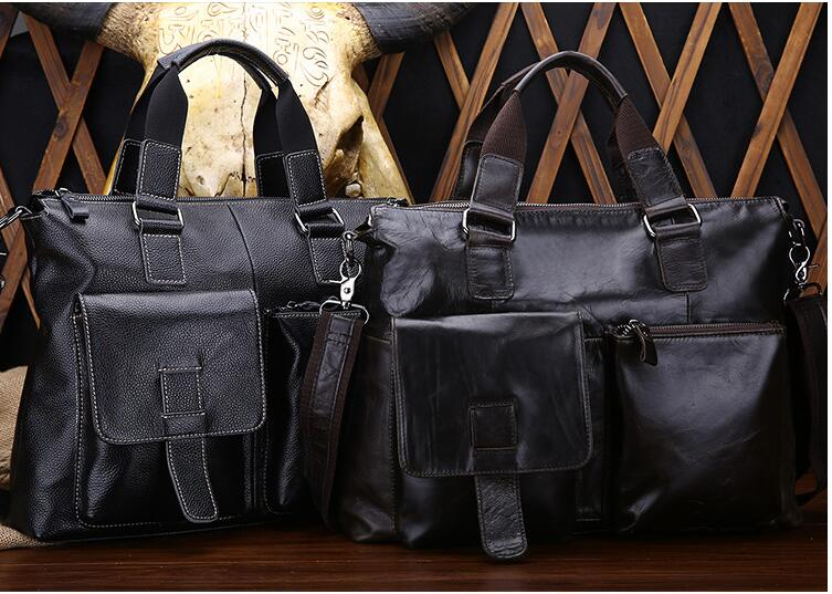 Casual men cowhide briefcase first layer genuine leather male business handbag one shoulder cross body bag vintage men messenger bag genuine leather casual handbag business laptop cross body shoulder bags retro male briefcase