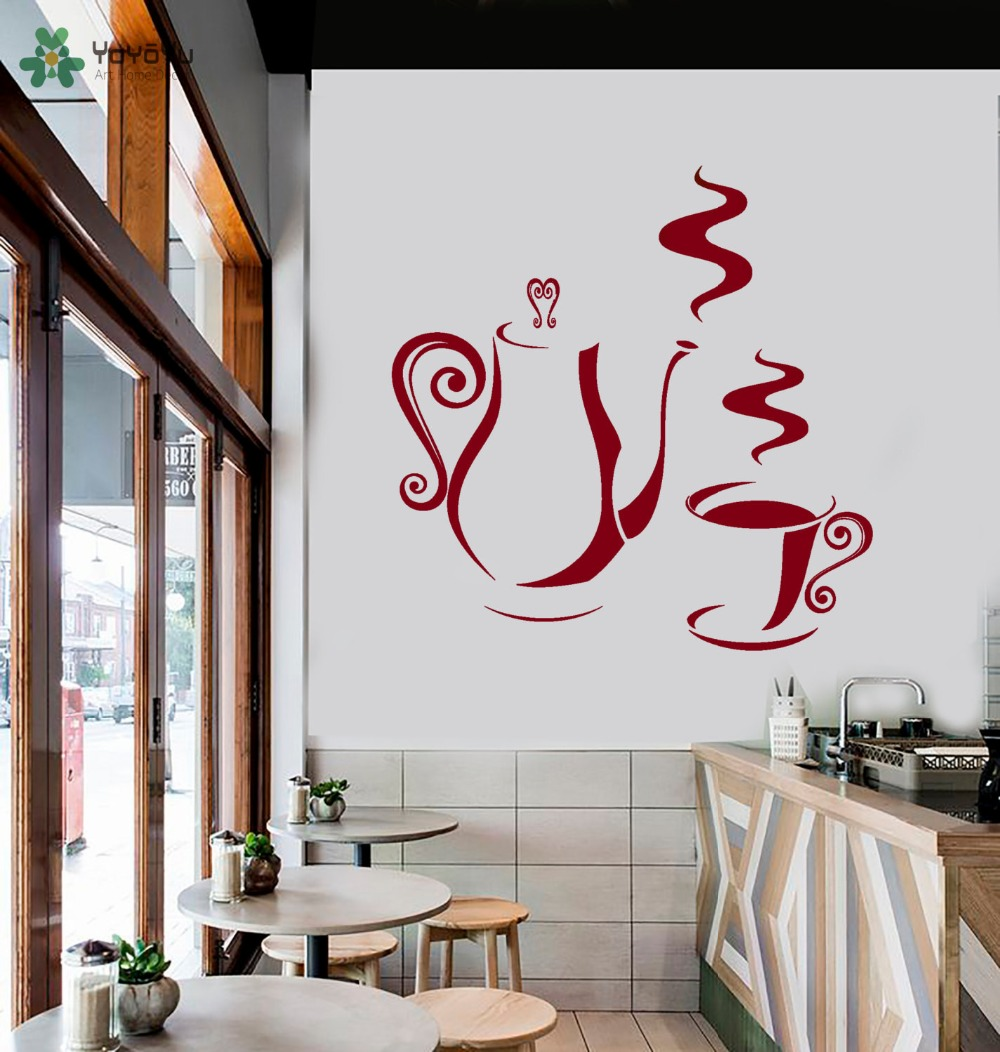 Wall Decor Shops: Coffee Shop Wall Stickers Coffee Cup Pot Pattern Vinyl