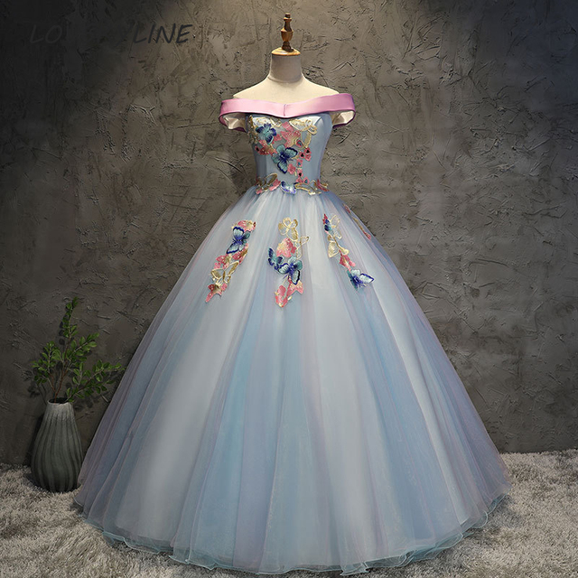 38c5e5e28 2018 New Butterfly Quinceanera Dresses Tulle With Embroidery Boat Neck  Masquerade Ball Gown Sweet 16 Dress Vestidos De 15 Anos