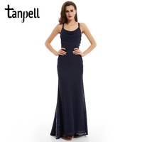 Tanpell Sexy ремни вечернее платье темно-синий рукавов Line этаж Длина платья женщины блестками на молнии Длинные вечернее платье