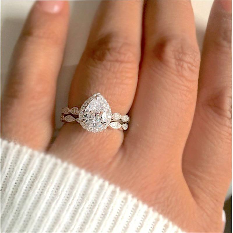 Hochzeits- & Verlobungs-schmuck Sanft Trendy 2 Stücke Ring/set Silber Farbe Gefüllt Weiß Kristall Zirkon Hochzeit Engagement Ring Für Wmen Größe 6-10 Braut Schmuck D3