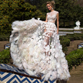2017 Sexy Свадебные Платья Высокий Воротник Кружева Цветы Иллюзия Свадебное Платье Длина Пола Роскошный Пляж Свадебное Платье