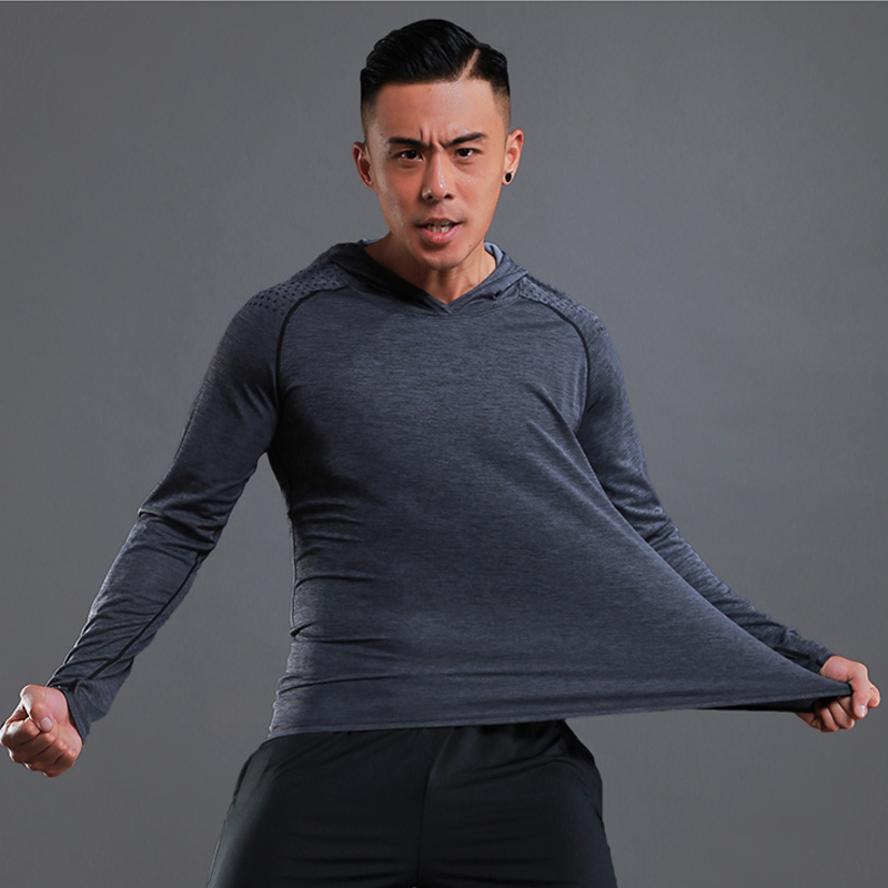 Image 3 - Running T shirt Men Long Sleeve Hooded Rashgard Thin Gym Shirts Fitness Training T shirt Quick Dry Breathable Sports Clothing-in Running T-Shirts from Sports & Entertainment on AliExpress