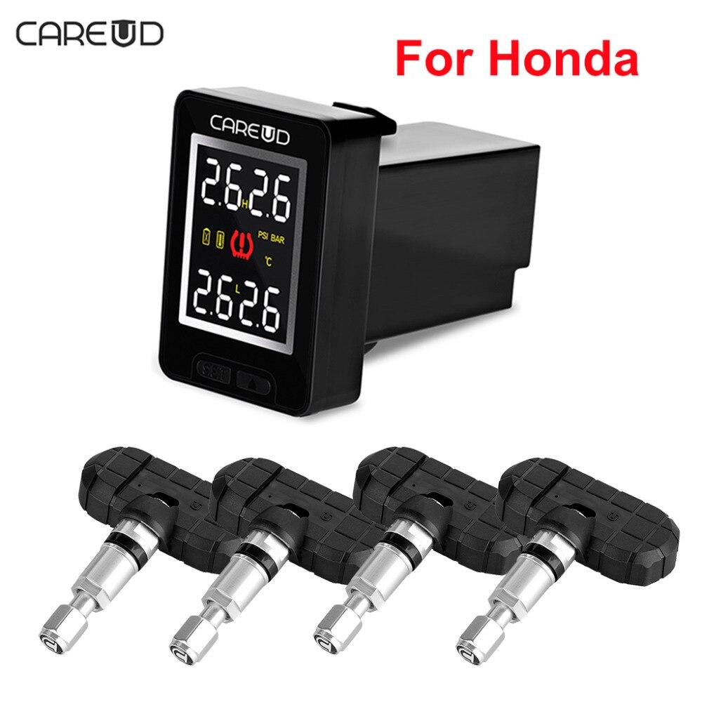 CAREUD U912 автомобиля Беспроводной TPMS шин Давление мониторинга Системы с 4 Встроенные датчики ЖК-дисплей Дисплей Встроенный монитор для Honda