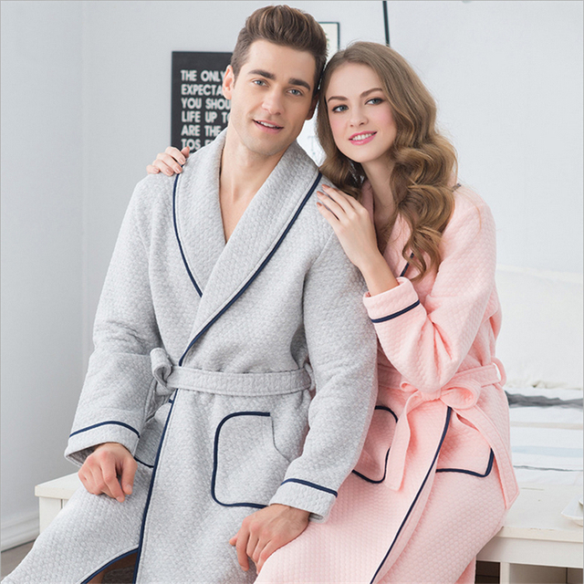 Couples robe Air cotton Couple pajamas Long sleeves women/men New fashion Simple style Bathrobes cotton Home clothing