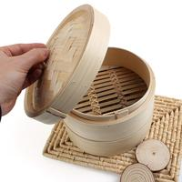 Home 2 Tier 8 Bamboo Steamer Baskets Chinese Dim Sum Basket Rice Pasta Cooker Set with Lid