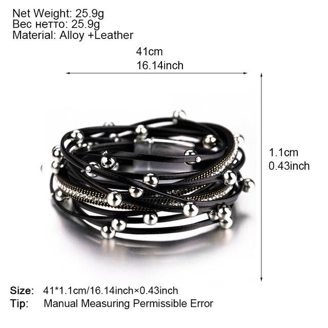 ALLYES Multilayer Leather Wrap Bracelets for Women Femme Crystal Metal Beads 5