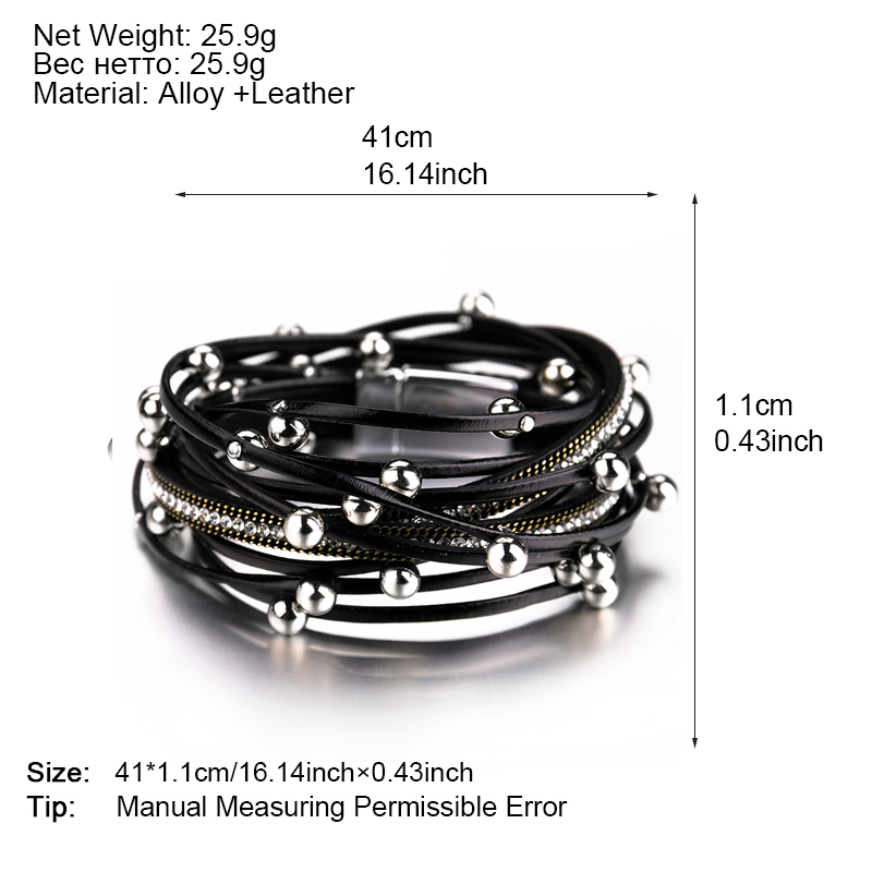 ALLYES Multilayer Leather Bracelets for Women Femme Crystal Metal Beads Charm Bohemian Wrap Bracelet Female Jewelry in Charm Bracelets from Jewelry Accessories