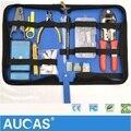 AUCAS Alta Qualidade RJ45 RJ11 Ethernet Cabo de Rede de friso Crimper ferramenta conjunto testador rj45