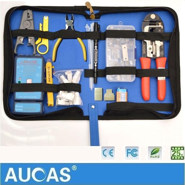 AUCAS High Quality RJ45 Ethernet Network Cable crimping Crimper tool  tester set rj45 цена 2017
