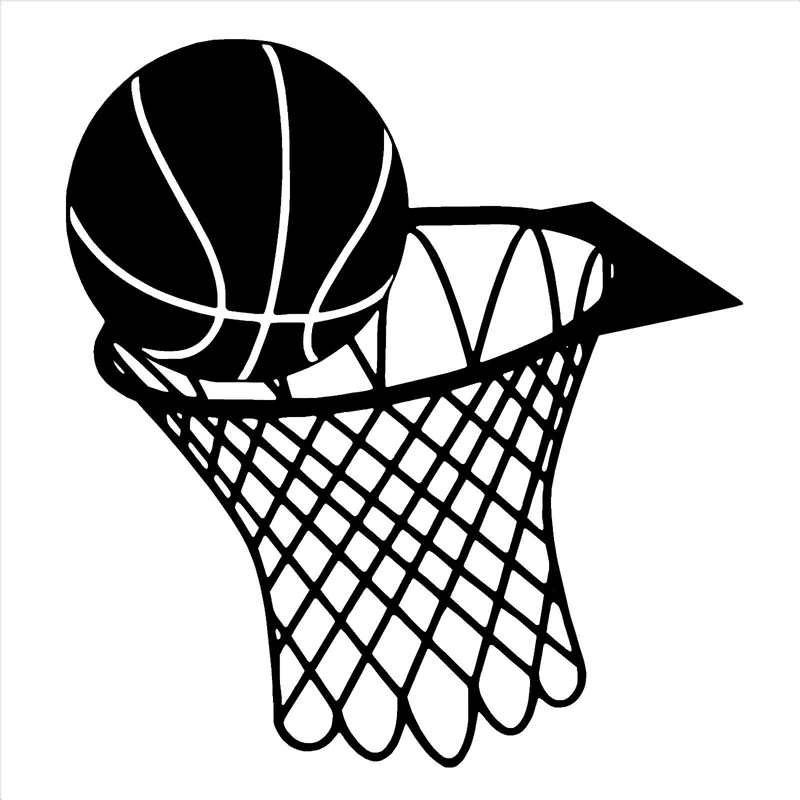 10.2CM*11CM Basketball And Net Hoop Car Sticker Vinyl Black/Silver S9-0141