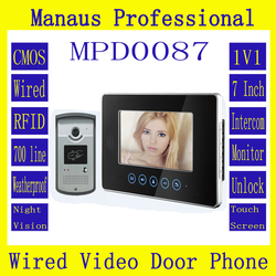 High Quality Smart Home 7 inch Screen Display Video Intercom Phone,Wired RFID Magnetic Lock 1V1 Video door phone D87b