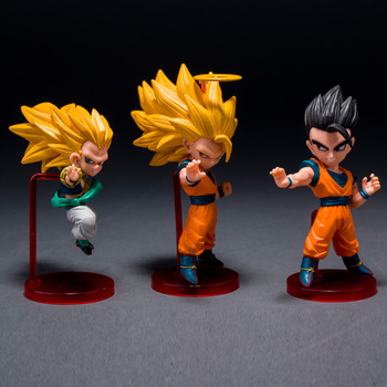 6pcs/set Anime Dragon Ball Z Majin Buu Gotenks Saiyan Son Goku Action Figures Collectible Toys