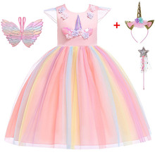 Teenmiro Princess Dress for Girl Unicorn Party Summer Flower Girls Dresses Kids Wedding Party Vestido Children Costumes New Robe стоимость