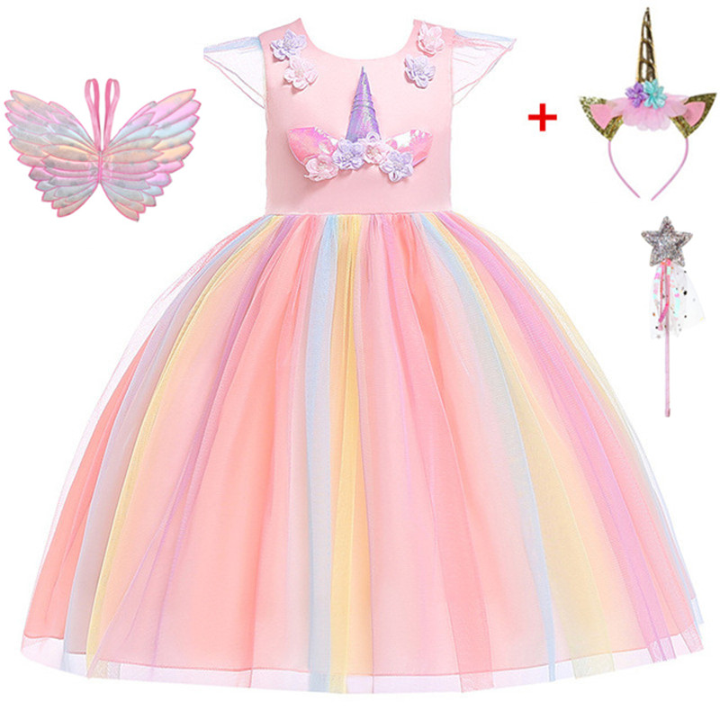 Teenmiro Princess <font><b>Dress</b></font> for Girl <font><b>Unicorn</b></font> Party Summer Flower Girls <font><b>Dresses</b></font> <font><b>Kids</b></font> Wedding Party Vestido Children Costumes New Robe image