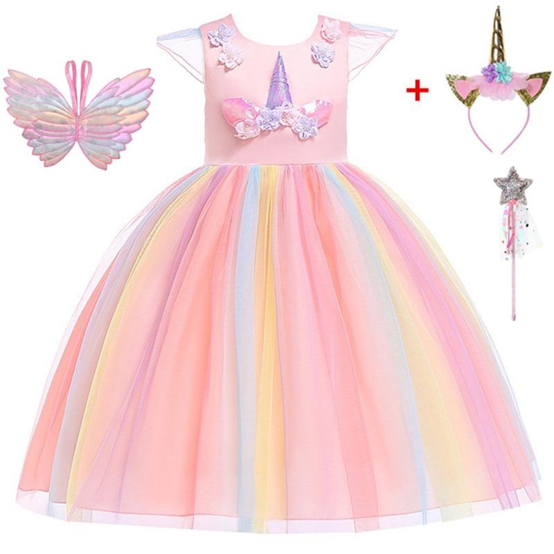 Teenmiro Princess   Dress   for   Girl   Unicorn Party Summer   Flower     Girls     Dresses   Kids Wedding Party Vestido Children Costumes New Robe