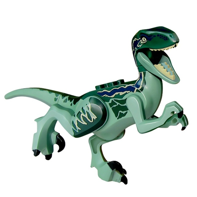 דינוזאורים היורה הד כחול DIY בלוקים מכירה אחת Velociraptor מודלים בניין צעצועים לילדים תואם בורא דינוזאור