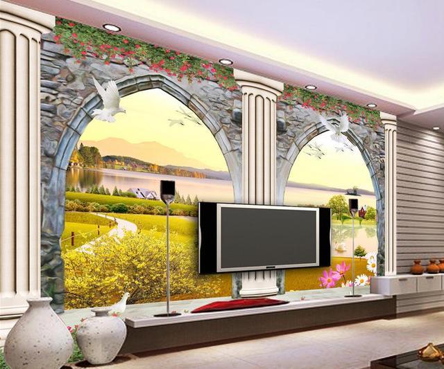 Europäische 3D Türen Und Fenster Dreidimensionale Skulptur Römischen Säule  TV Foto 3d Wallpaper Home Dekoration