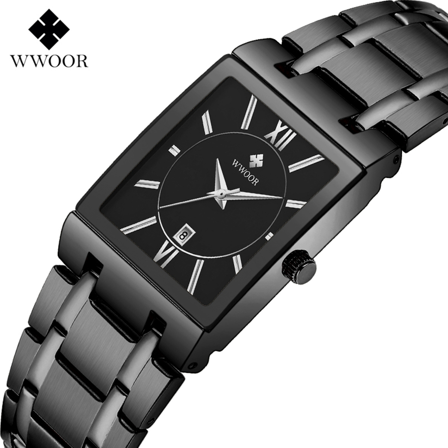 Image 2 - Square Watch Men Luxury WWOOR Stainless Steel Mens Wristwatch Calendar Man's Wrist Watches Waterproof Sports Casual Watches 2019-in Quartz Watches from Watches