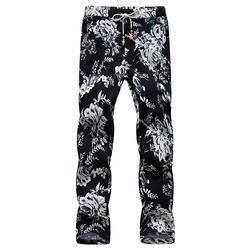 Большие размеры S-6XL брюки с цветочным принтом летние новые повседневные мужские штаны