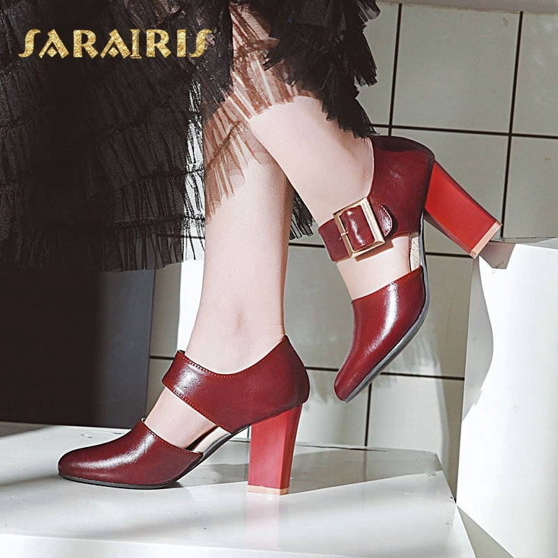 SaraIris Square High Heel Mary Jane Style Buckle Decoration Party Wedding Office Shoes Woman Pumps Larges Size 31-48