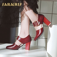 SaraIris Square High Heel Mary Jane Style Buckle Decoration Party Wedding Office Shoes Woman Pumps Larges Size 31 48