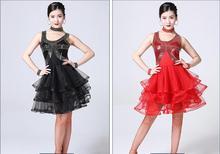 New Sale Junior Women Girls Latin Dance Costumes Sequin Fringe Dress Bachata Salsa Dresses