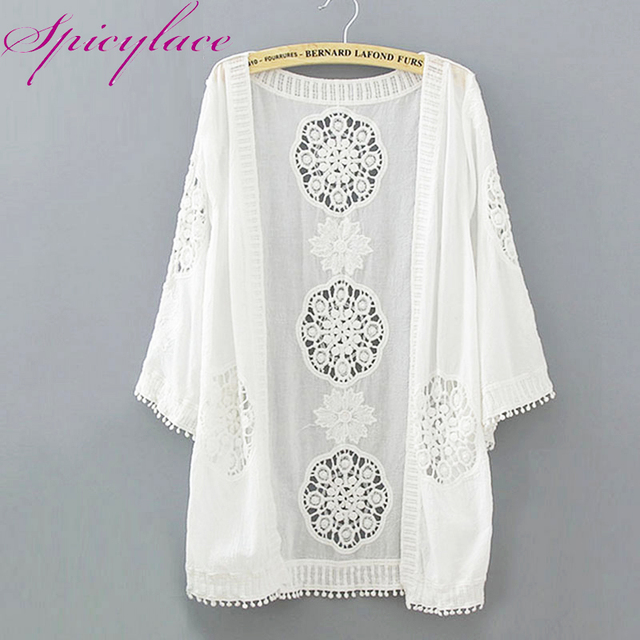 17a3f5890cc 2018 Summer Kimono Cardigan Beach Cover-Up Blusas Women Embroidery Hollow  Out Tops Sexy Lace White Long Street-wear Blouses