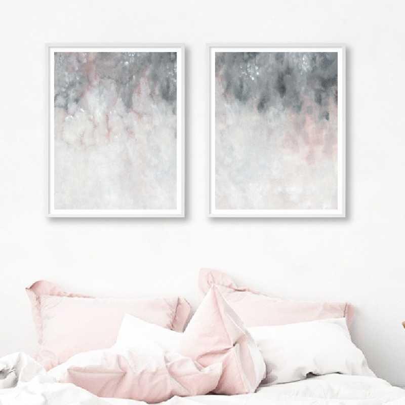 Pink Grey Wall Art Canvas Painting