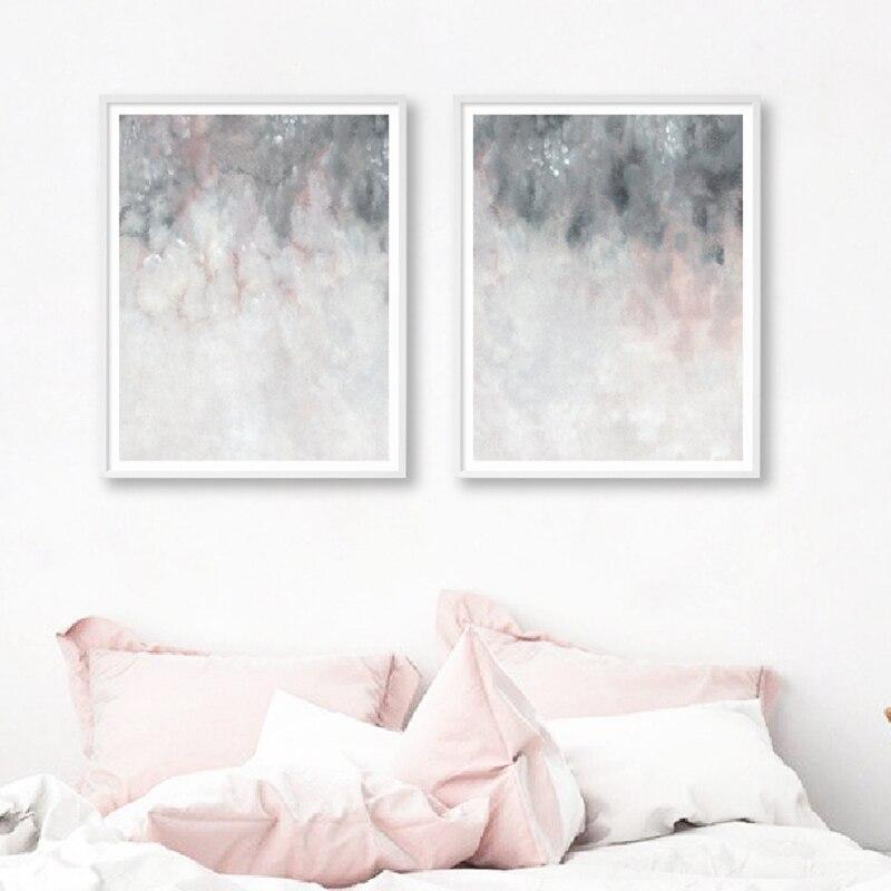 Rose Gris Mur Art Toile Peinture Chambre Decor Blush Rose Gris Abstrait Art Affiches Et Impressions Mur Photos Decoration De La Maison Aliexpress