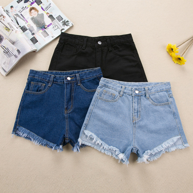 2018 Fashion Women's Jeans Summer High Waist Stretch Denim Shorts Slim Korean Casual Women Sexy Jeans Shorts Plus Size