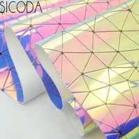 SICODA 50CM Laser pu mirror reflective triangular mesh magic color ladies bag making handmade DIY sewing leather craft 0.7mm