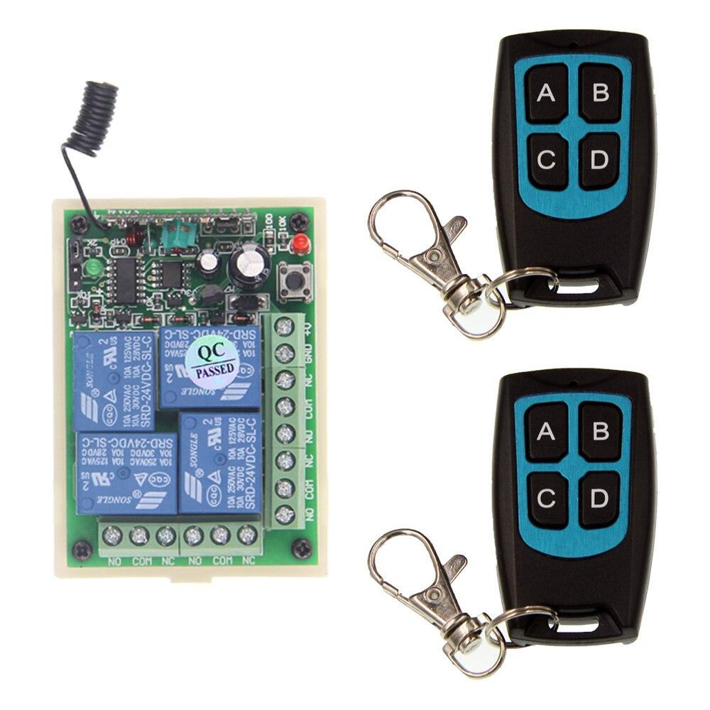 DC 12V 24V 4 CH 4CH RF Wireless Remote Control Switch System,2 X Waterproof Transmitter + Receiver,315/433.92MHZ