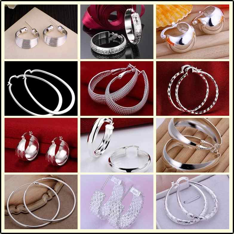 Factory price High-quality 925 stamped silver plated jewelry earring fine smooth circle hoop jewelry earring 12 styles