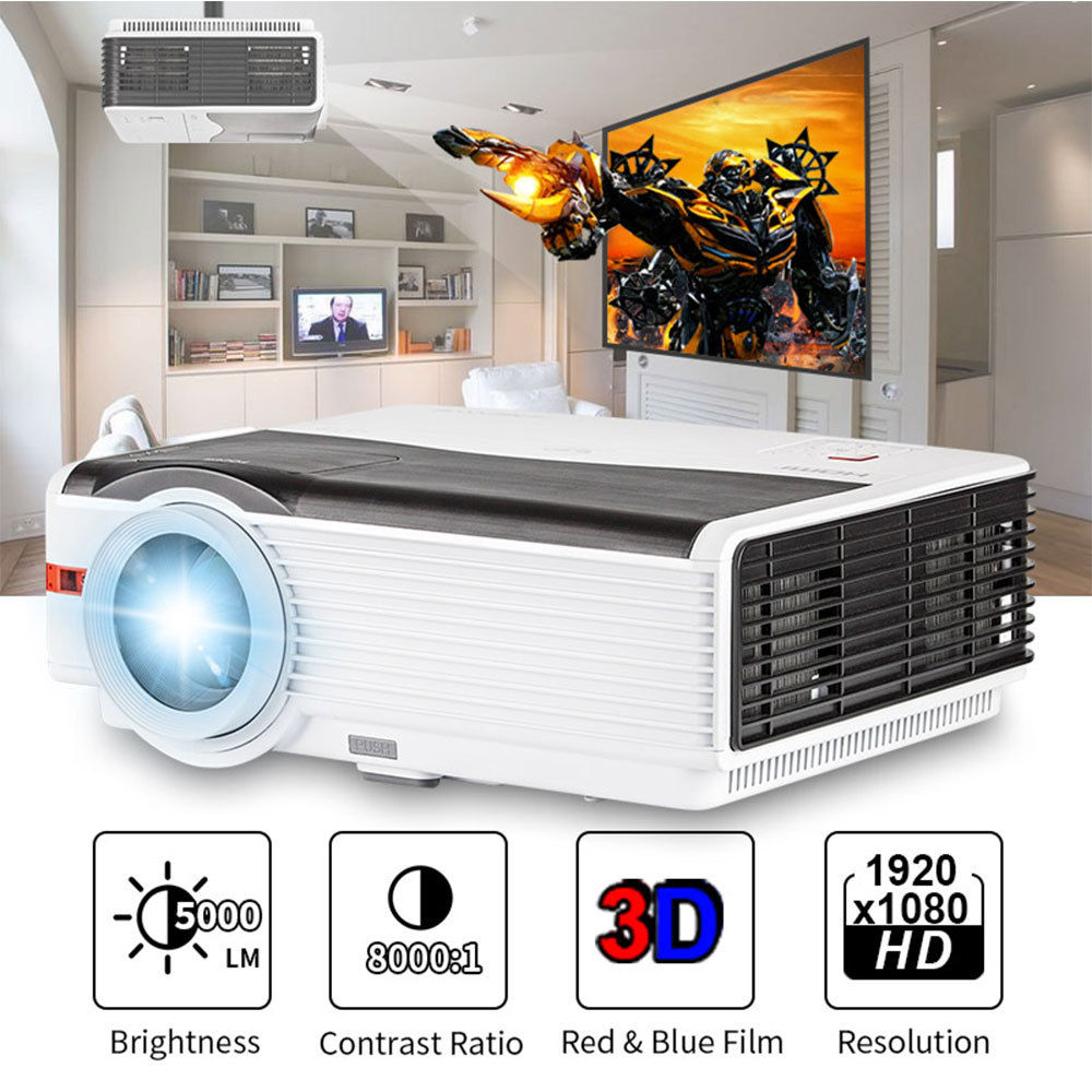 CAIWEI Digital LED Home Theater Projector Multimedia Video Game Movie LCD Proyector 5000 Lumens Support HD 1080P HDMI VGA Beamer new h88 lcd led video micro multimedia projector home theater