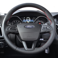 100% Genuine Leather Car Steering Wheel Cover for Ford Focus 2 3 2015 2017 Kuga / Escape 2017 2018 2019  Ecosport 2018