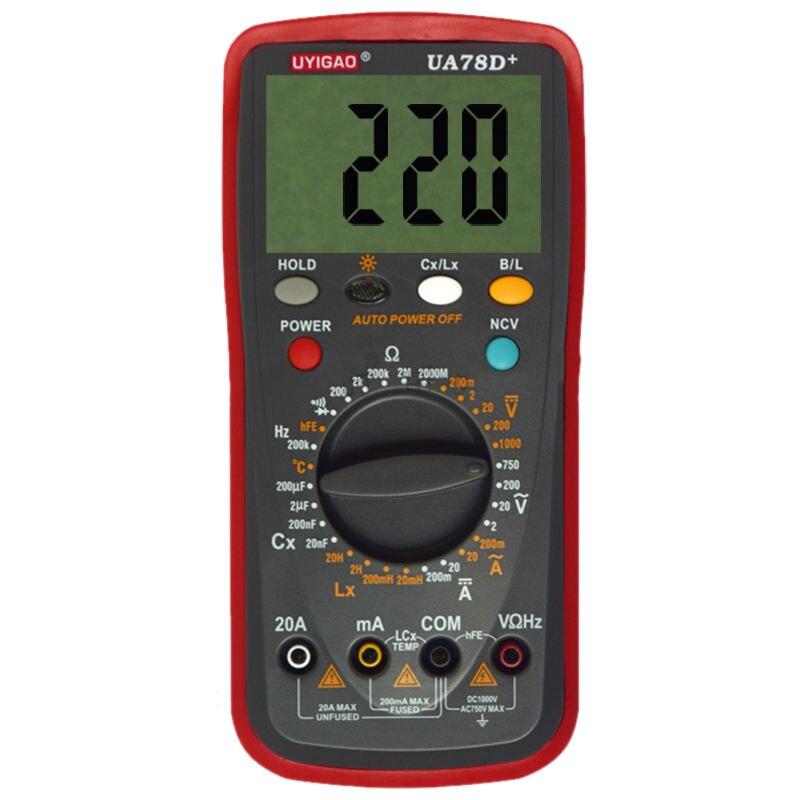 UYIGAO UA78D+ Plastic Shell Ohmmeter AC DC Testing Digital Multimeter use pp ua тв онлайн