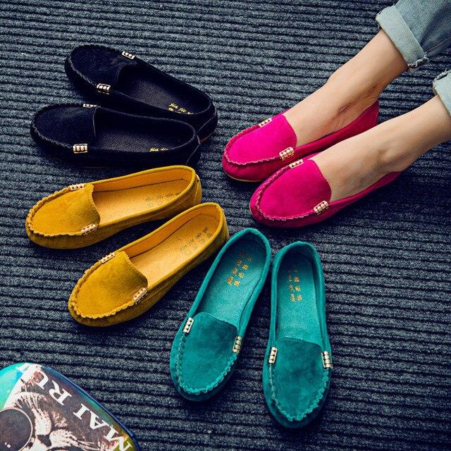 Женская обувь на плоской подошве, большие размеры 35-43 2019 г. Лоферы ярких цветов без застежки на плоской подошве удобные балетки на плоской по...