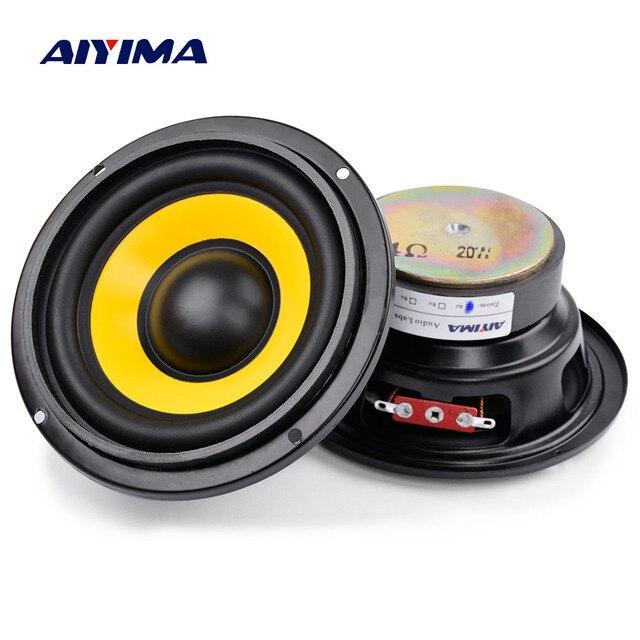 AIYIMA 2 шт. 4 дюймовый низкочастотный динамик, портативная мини стереоколонка s сабвуфер, Полнодиапазонный Автомобильный громкоговоритель, 4 Ом/8 Ом 20 Вт