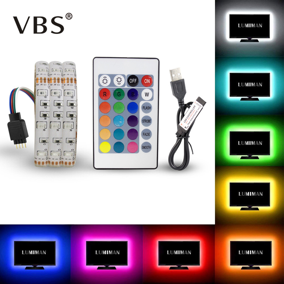 RGB LED Strip DC 5V USB LED Light Strips Flexible IP20 IP65 Waterproof Tape 1M 2M 3M 4M 5M With Remote For TV Background