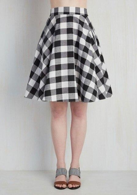 c1216281f81 10- vintage 50s plaid gingham circle swing mid skirt in red black plus size elastic  waistband skirts rockabilly saia faldas