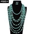Bead Strand Long Necklace Turquoise Color Plastic Resin Bead Women Statement Necklace Trendy Necklaces Party Jewelry 6940
