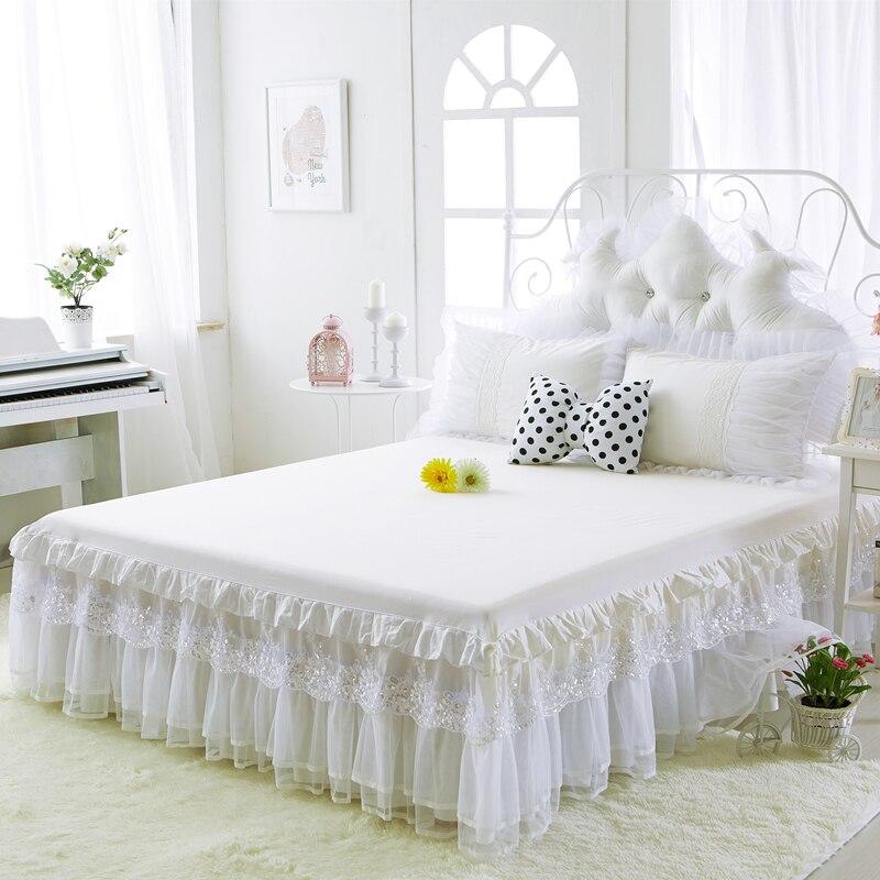 Новинка, Весенняя юбка кровать из 100% хлопка, бежевый, белый, чистый цвет, кружевное покрывало, простыня для свадьбы, двойная, полная королева,