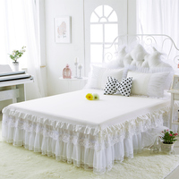New Spring 100% cotton bed skirts beige white Pure color lace bedspread bed sheet wedding twin full queen king princess style