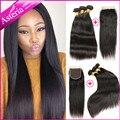 "Asteria  Brazilian Virgin Straight 3 Human Hair Bundles With 1 Lace Closure 7A 8-30inch Hair Bundles 4X4"" Closure Free Shipping"