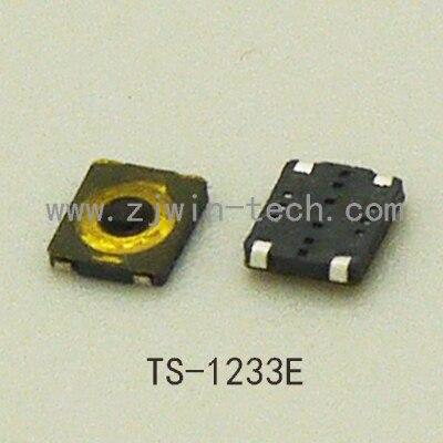 """10 טלפון יח'\חבילה אולטרה קטן במיוחד פרופיל נמוך מתג רגעי כפתור כפתור בורר טקטי 3X3 מ""""מ סופר זעיר SMD TS-1233E"""