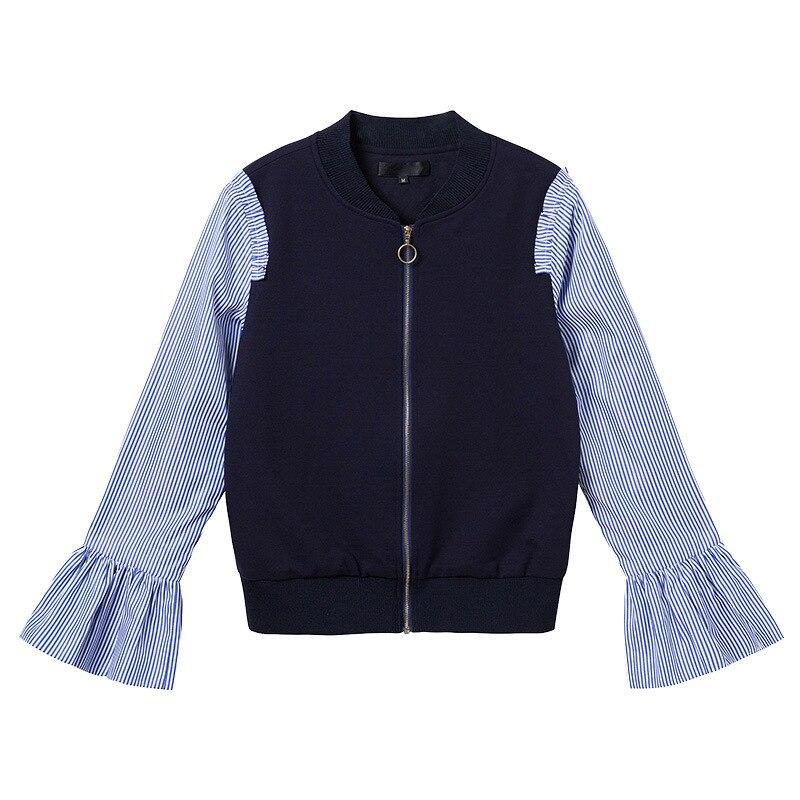 Vestes Plus Bleu Plaid Longues Femmes Automne Manches Manteau Casual Zipper L 5xl 4xl Flare 2017 xxxl Taille Veste Aofuli x4Caq6w6